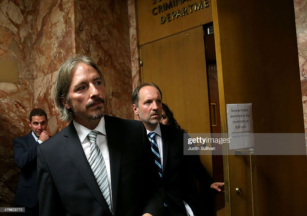 San Francisco public defender chief attorney Matt Gonzalez (L) leaves court after the arraignment for Francisco Sanchez on July 7, 2015 in San Francisco, California. Francisco Sanchez pleaded not guilty to charges that he shot and killed 32 year-old Kathryn Steinle as she walked on Pier 14 in San Francisco with her father last week.