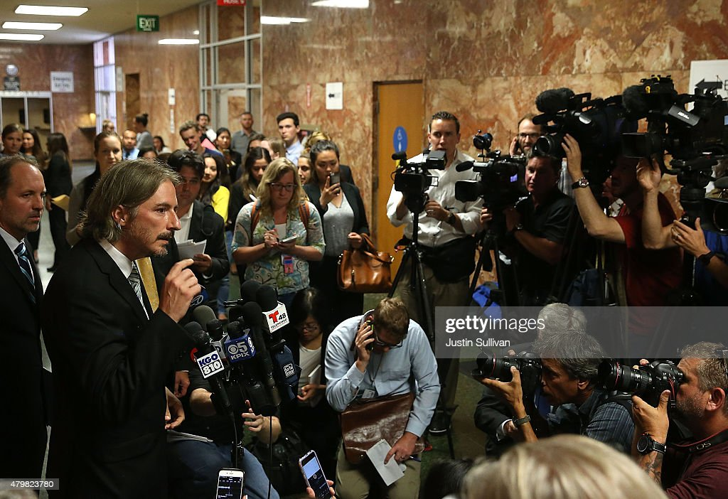 San Francisco public defender chief attorney Matt Gonzalez speaks with reporters after the arraignment for Francisco Sanchez on July 7, 2015 in San Francisco, California. Francisco Sanchez pleaded not guilty to charges that he shot and killed 32 year-old Kathryn Steinle as she walked on Pier 14 in San Francisco with her father last week.