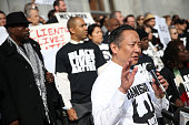 San Francisco public defender Jeff Adachi speaks during a 'Hands Up Don't Shoot' demonstration in front of the San Francisco Hall of Justice on...