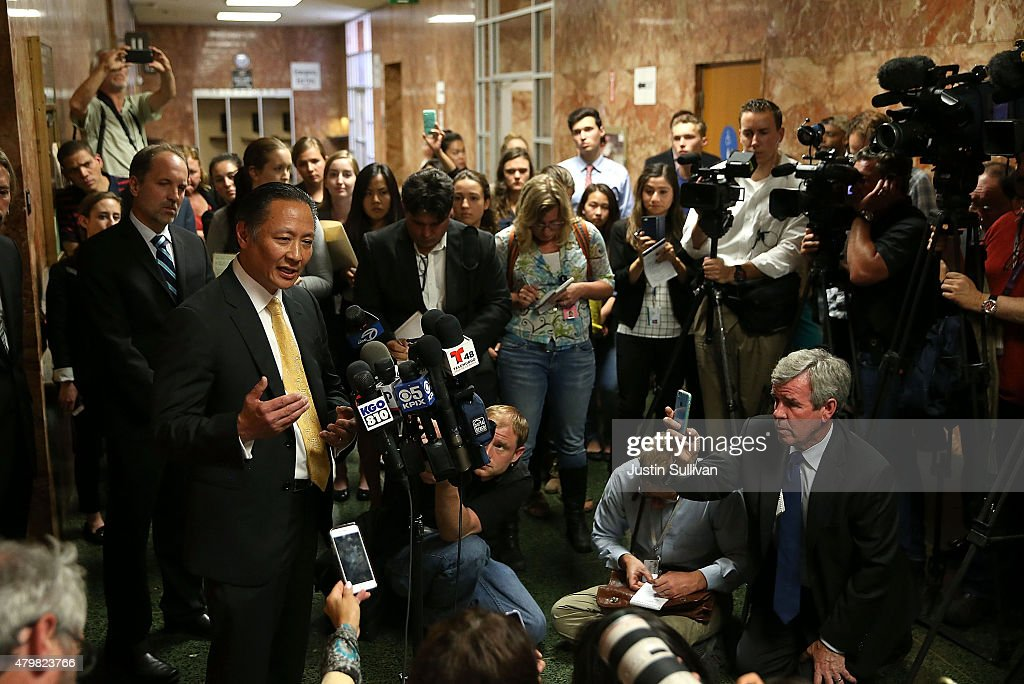 San Francisco public defender Jeff Adachi speaks with reporters after the arraignment for Francisco Sanchez on July 7, 2015 in San Francisco, California. Francisco Sanchez pleaded not guilty to charges that he shot and killed 32 year-old Kathryn Steinle as she walked on Pier 14 in San Francisco with her father last week.