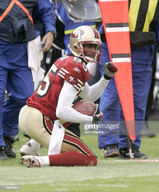 San Francisco receiver Brandon Lloyd celebrates making a first down catch during the 49ers 2017 overtime defeat of the Houston Texans January 1 2006...