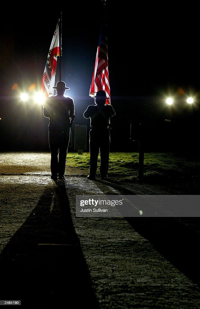 San Francisco Sherrif Department color guard present the colors during a tribute to September 11, 2001 victims September 11, 2003 at Crissy Fields in San Francisco. The pre-dawn service included a moment of silence and speeches by members of the San Francisco Police and Fire departments.