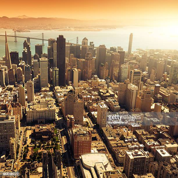 San francisco skyline aerial view with bay bridge on background