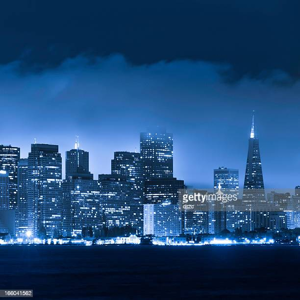 San Francisco skyline and bay at night