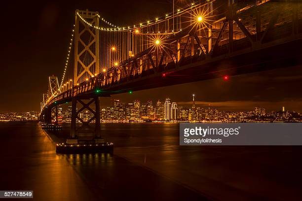 San Francisco skyline and Bay Bridge at night
