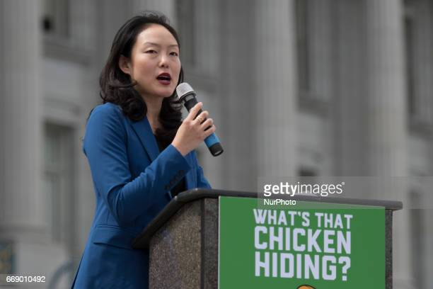 San Francisco Supervisor Jane Kim speaks during Tax March in San Francisco California on April 15 2017 The march features 30foot tall inflatable...