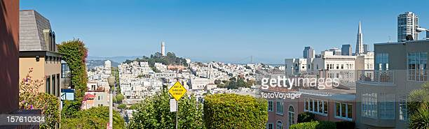 San Francisco townhouses towers Telegraph Hill panorama North Beach California