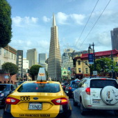 San Francisco Traffic on Columbus Ave with Yellow Taxi headed towards downtown