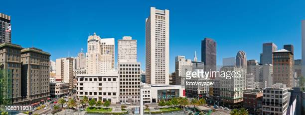 San Francisco Union Square downtown skyscrapers hotels stores panorama California
