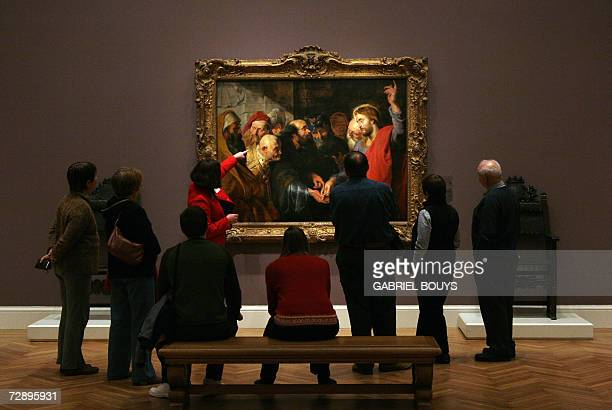 A guide shows 'The Tribute Money' by Flemish painter Peter Paul Rubens at the California Palace of the Legion of Honor Museum in San Francisco 21...