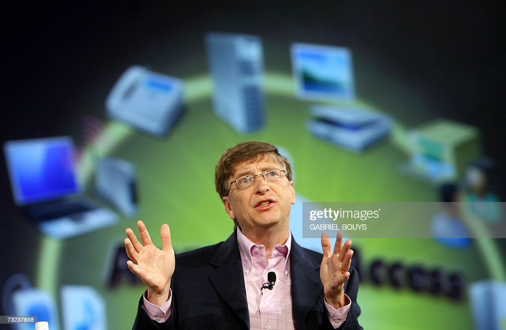 Bill Gates of Microsoft speaks during the opening keynote at the RSA conference at the Moscone Center February 6, 2007 in San Francisco, California. RSA is the worlds largest computer security conference. AFP PHOTO/ GABRIEL BOUYS