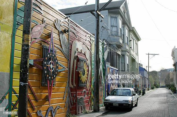 Murals are seen 23 December 2006 near Balmy Street in San Francisco's Mission District a predominantly workingclass area populated by immigrants from...