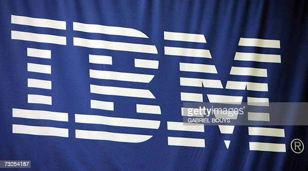 The IBM logo is pictured at the RSA Conference 2007 in San Francisco 07 February 2007 AFP PHOTO/GABRIEL BOUYS