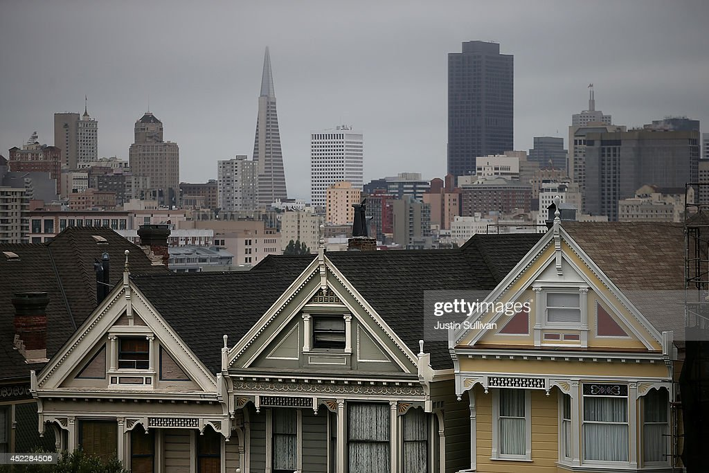 San Francisco's famed 'Painted Ladies' are seen from Alamo Square Park on July 17, 2014 in San Francisco, California. According to a report by DataQuick, the median price of new or existing single-family homes and condos reached $1 million.
