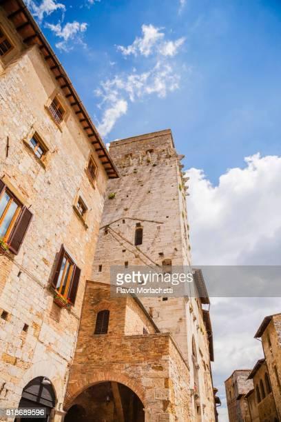 San Gimignano buildings in Piazza della Cisterna, Tuscany