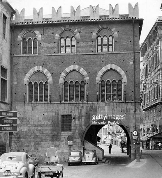 San Giorgio Palace with battlements standing on piazza Caricamento Genoa 1950s