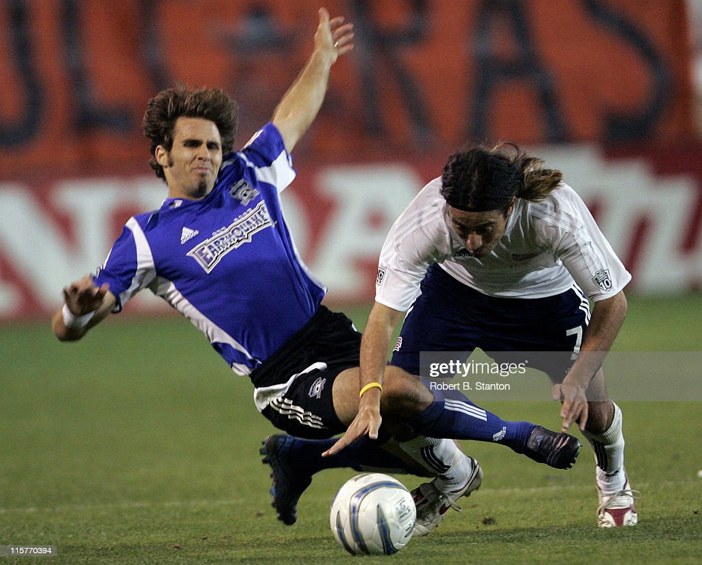 San Jose Brian Mullen and New England's Jose Cancela go for the ball as the San Jose Earthquakes tied the New England Revolution 22 at Spartan...