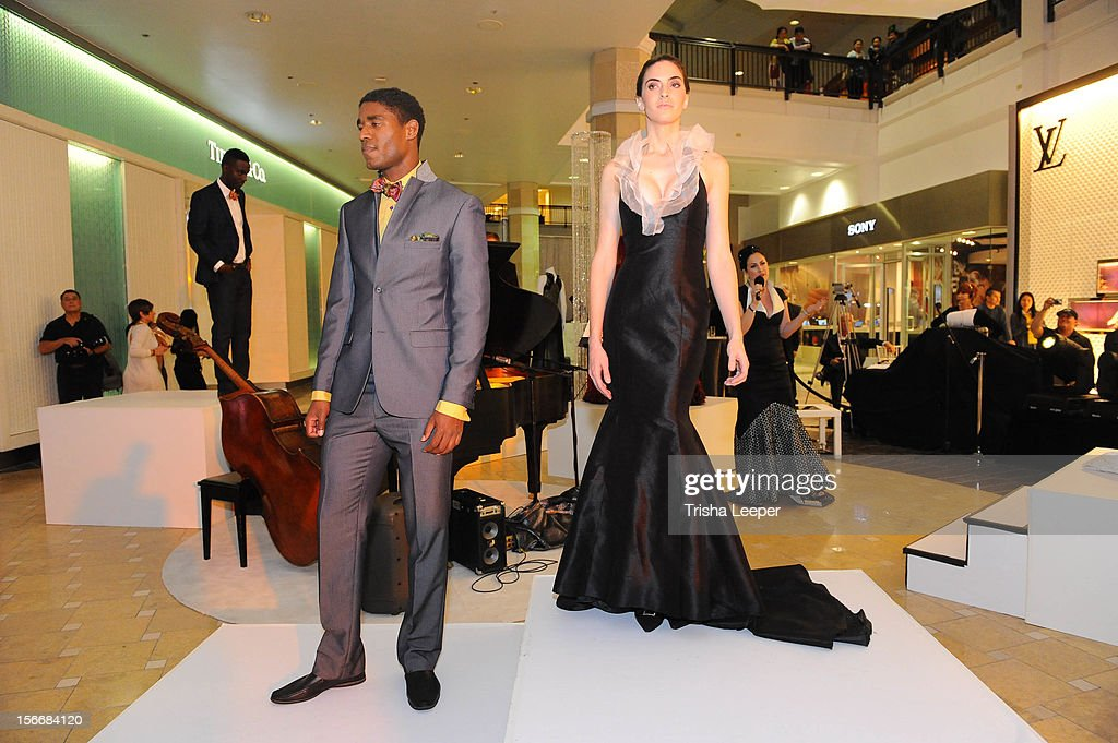 San Jose Earthquakes and Khari Stephenson models designs by Franko Uomo at the Couture Funding A Cure The 2012 Santa Clara County Gala on November 17...