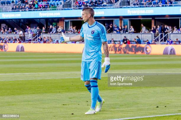 San Jose Earthquakes goalkeeper David Bingham gives a thumbsup to his defense during the Major League Soccer game between the Portland Timbers and...