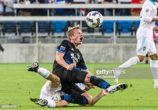 San Jose Earthquakes midfielder Jackson Yueill and Seattle Sounders defender Will Bruin get tangled up resulting in a red card against Seattle...