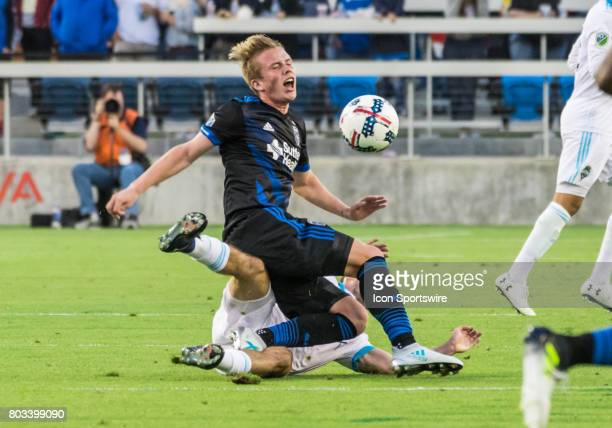 San Jose Earthquakes midfielder Jackson Yueill gets taken down by Seattle Sounders defender Will Bruin during a Round of 16 US Open Cup match between...