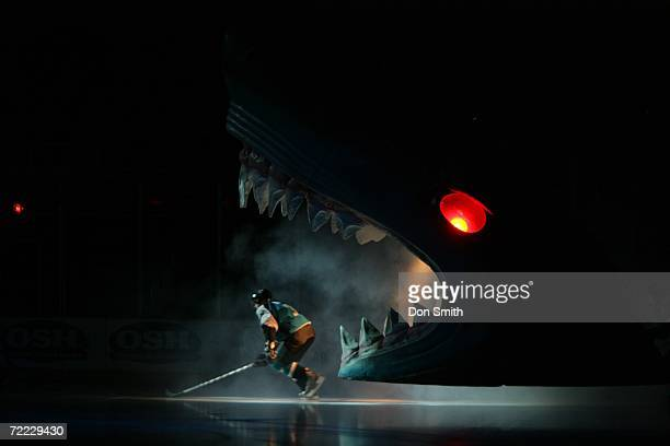 San Jose Shark player skates through the Sharks head prior to a preseason game against the Los Angeles Kings on September 29 2006 at the HP Pavilion...