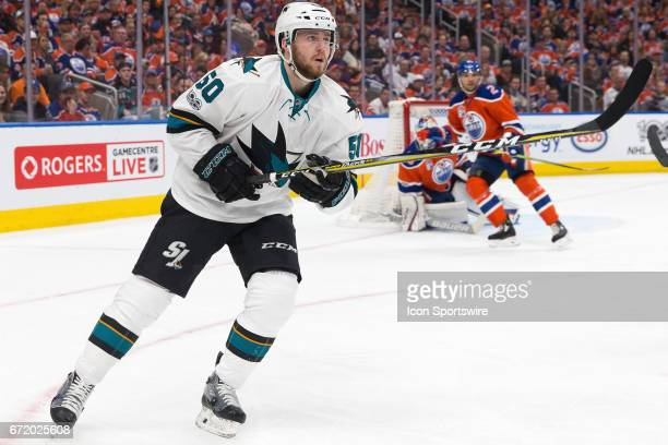 San Jose Sharks Center Chris Tierney watching the clock in Game 5 on April 20 2017 at Rogers Place in Edmonton AB The Oilers won the game 4 to 3 in OT