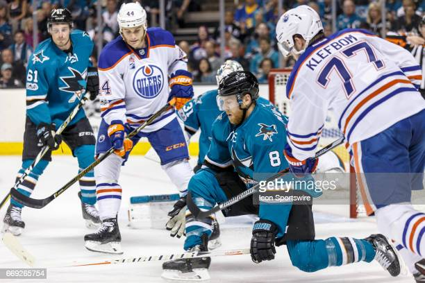 San Jose Sharks center Joe Pavelski blocks a shot by Edmonton Oilers defenseman Oscar Klefbom during the first period of the Round 1 Game 3 between...