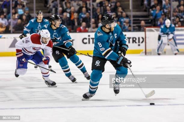 San Jose Sharks center Joe Pavelski moves up ice during the second period of the regular season game between the Montreal Canadiens and the San Jose...
