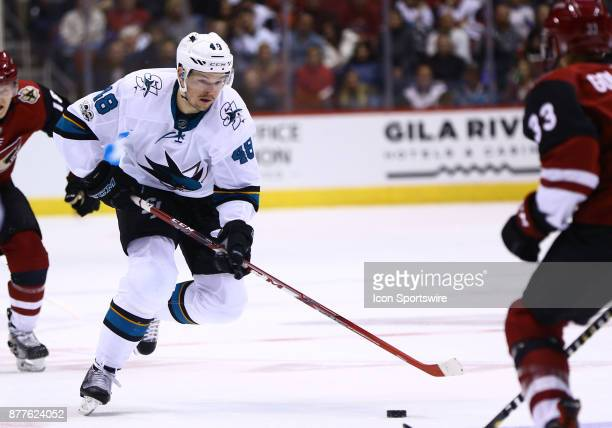 San Jose Sharks center Tomas Hertl drives the puck down the ice during the NHL hockey games between the San Jose Sharks and the Arizona Coyotes on...