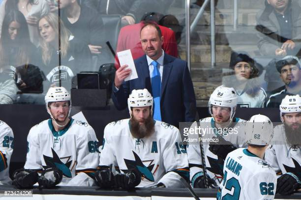 San Jose Sharks Head Coach Peter DeBoer instructs his players during a game against the Los Angeles Kings at STAPLES Center on November 12 2017 in...