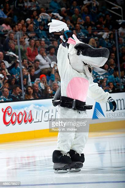 San Jose Sharks mascot SJ Sharkie dresses up as a bunny for Easter during the game against the Los Angeles Kings in Game Two of the First Round of...