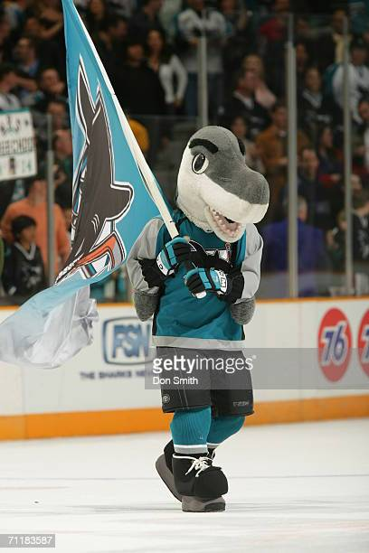 San Jose Sharks mascot SJ Sharkie entertains the crowd prior to a game between the San Jose Sharks and Los Angeles Kings on March 13 2006 at the HP...