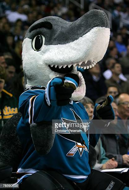 San Jose Sharks mascot 'SJ Sharkie' performs during the NHL game against the Anaheim Ducks at HP Pavilion on December 18 2007 in San Jose California...