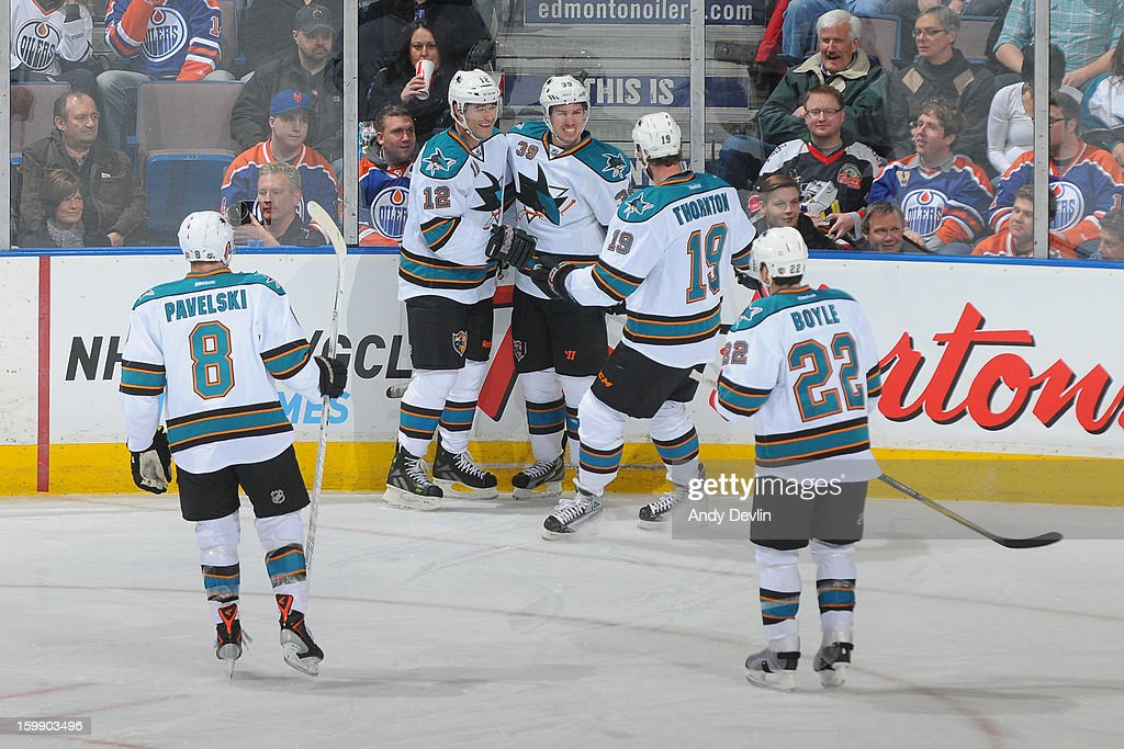 San Jose Sharks players celebrate after scoring a first period goal against the Edmonton Oilers at Rexall Place on January 22, 2013 in Edmonton, Alberta, Canada.
