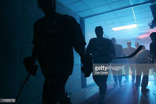 San Jose Sharks players walk from their locker room to the ice prior to the start of game five of the Western Conference Semifinals against the...