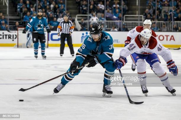 San Jose Sharks right wing Jannik Hansen moves up ice during the second period of the regular season game between the Montreal Canadiens and the San...