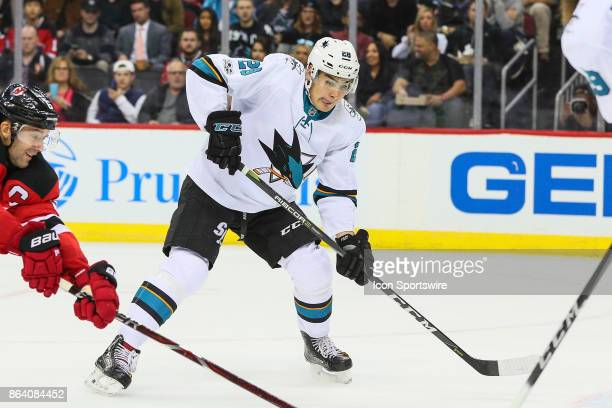 San Jose Sharks right wing Timo Meier skates during the first period of the National Hockey League game between the New Jersey Devils and the San...