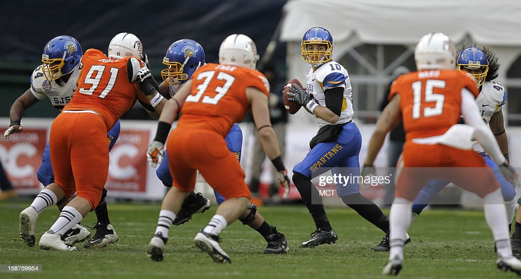 San Jose State quarterback David Fales (10) drops back for a pass against Bowling Green during the second quarter of the Military Bowl at RFK Stadium in Washington, Thursday, December 27, 2012. San Jose State defeated Bowling Green 29-20.