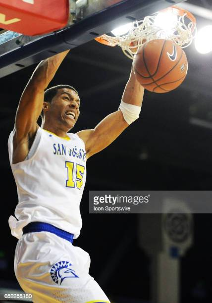 San Jose State Saprtans guard Brandon Clarke dunks the basketball during a college basketball game between the University of Nevada Wolfpack and the...
