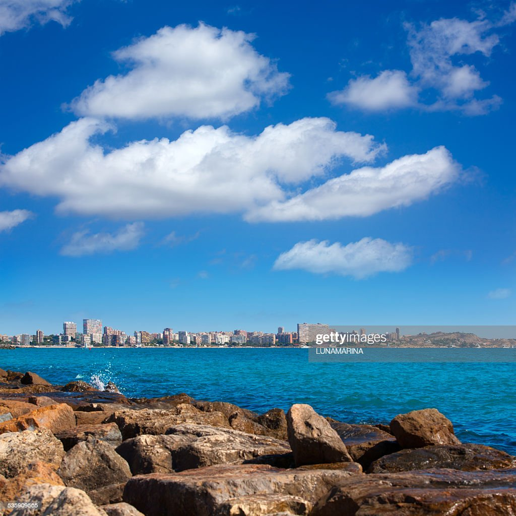 San Juan de Alicante view from Postiguet beach : Stock Photo