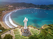 San Juan Del sur bay  aerial drone view on sunny day