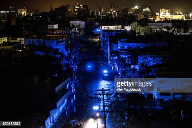 San Juan is seen during a blackout after Hurricane Maria made landfall on September 20 2017 in Puerto Rico Thousands of people have sought refuge in...