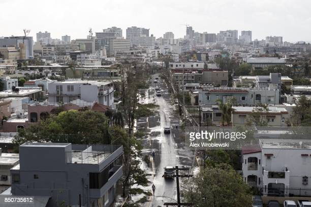 San Juan is seen the day after Hurricane Maria made landfall on Puerto Rico on September 21 2017 The majority of the island has lost power in San...