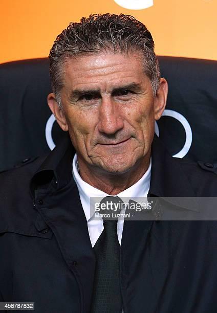 San Lorenzo coach Edgardo Bauza looks on before Luigi Berlusconi Trophy at Stadio Giuseppe Meazza on November 5 2014 in Milan Italy