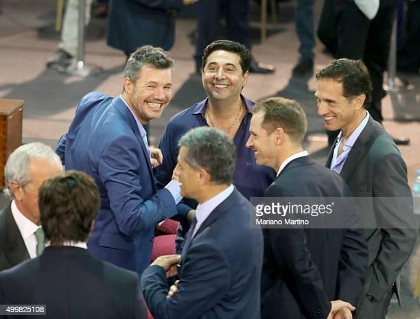 San Lorenzo vicepresident Marcelo Tinelli and Daniel Angelici Boca Juniors President smile during Argentine Football Association presidential...