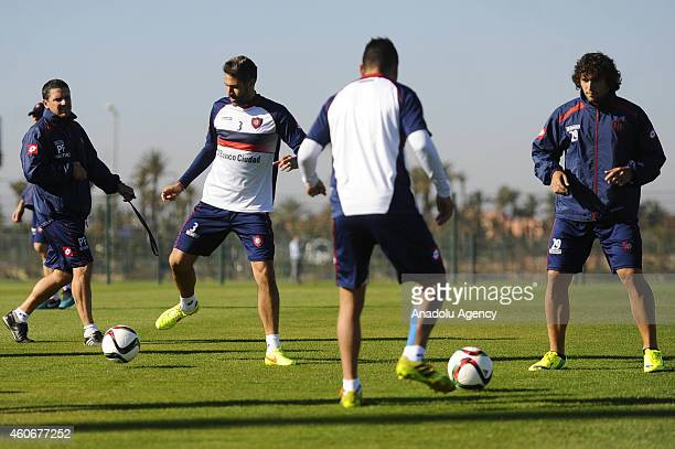 San Lorenzo's players Mario Yepes and Fabricio Fontanini attend the training session during the FIFA Club World Cup at Marrakesh stadium in Marrakesh...