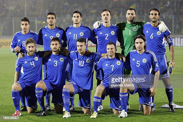 San Marino line up prior to the FIFA 2014 World Cup Qualifier Group H match between San Marino and Ukraine at Serravalle Stadium on October 15 2013...