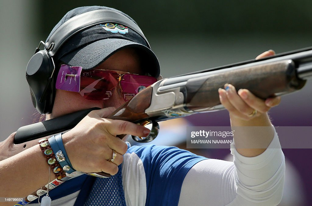 San Marino's Alessandra Perilli competes in the women's trap final at the London 2012 Olympic Games at the Royal Artillery Barracks in London on August 4, 2012. AP