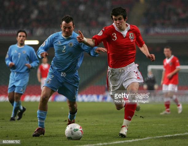 San Marino's Carlo Valentini and wales' Gareth Bale battle for the ball
